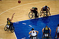 Wheelchair basketball Nick Morris shoots - 3b - Sydney match photo 2000-10-25.jpg