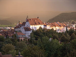 Wil - View of old town with the Hof in the centre