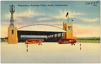 Wilkes-Barre Wyoming Valley Airport - An old postcard of the airport.