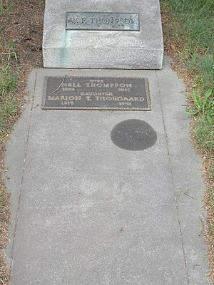 Fairbanks Daily News-Miner - Grave of William Fentress Thompson, his wife and their daughter at Clay Street Cemetery, photographed in May 2014.