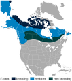 Willow Ptarmigan Lagopus lagopus distribution in North America map.png