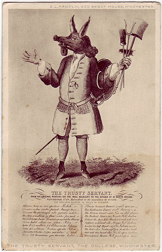 Winchester College - The Trusty Servant: 19th-century print