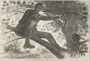 Sharpshooter - An unidentified sharpshooter for the Army of the Potomac on picket duty during the American Civil War.