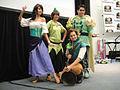 Wizard World Anaheim 2011 - Esmerelda, Peter Pan, Flynn Rider, and Prince Naveen (5674470783).jpg