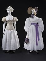 Woman's sleeve plumper, muslin dress and straw bonnet LACMA M.2007.211.440 and M.2007.211.739.jpg