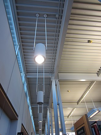 Woodstock Library - Exposed steel roof supported by steel columns