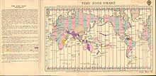 World map of time zones in 1928