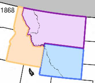 Wyoming Territory - Wyoming (blue) with Idaho (yellow) and Montana (purple) in 1868