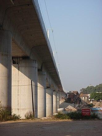 Wuhan–Guangzhou high-speed railway - A viaduct carrying the railway