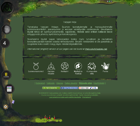 Detail of Varjojenkirja's summer-theme main menu. Here, user can choose subsection.