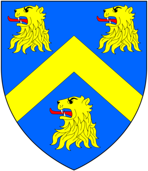 Sir William Wyndham, 3rd Baronet - Arms of Wyndham: Azure, a chevron between three lion's heads erased or