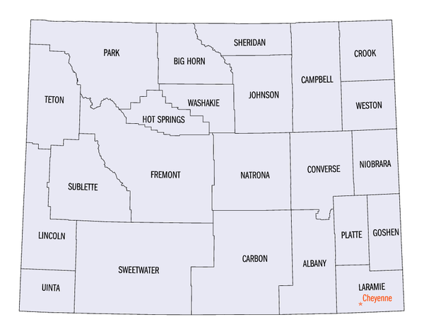 Wyoming Wikipedia - Wyoming map with cities
