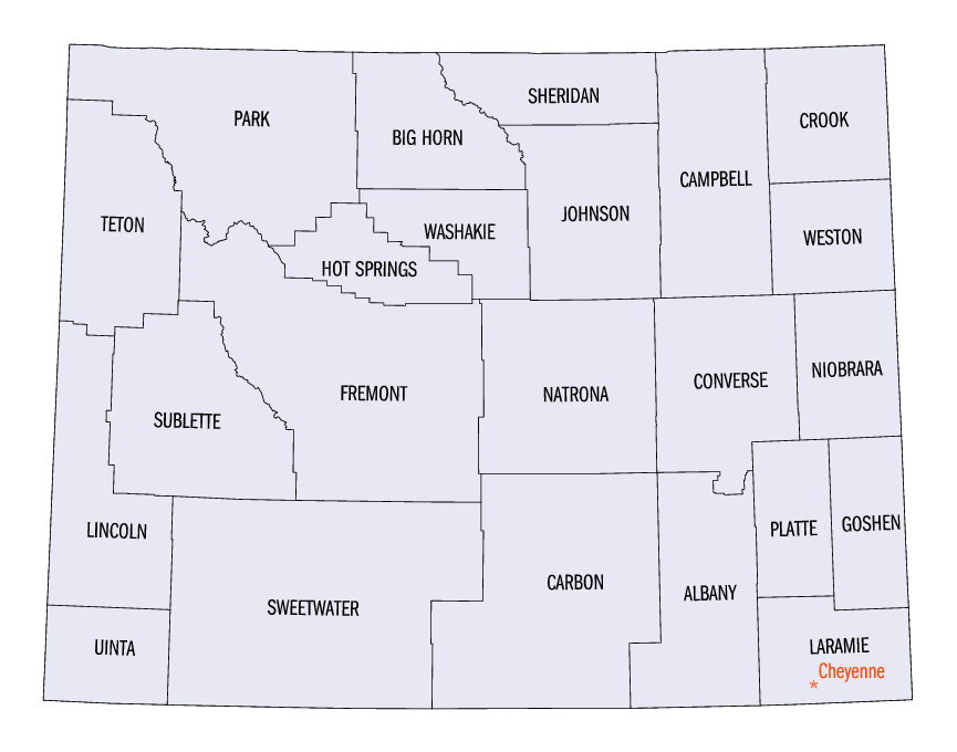 Wyoming counties map