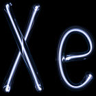 Illuminated violet gas discharge tubes shaped as letters X and e