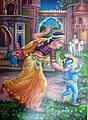 Yashodha, holding a toy flute, chases the naughty boy inside a Mughal-looking palace (bazaar art, 1950's).jpg