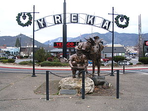 Yreka, California - Statue at entrance to Yreka Historic District