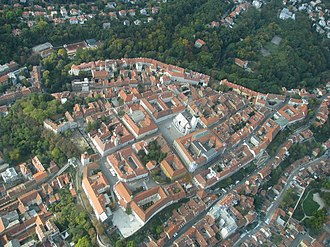 Gradec, Zagreb - Aerial view of Gornji Grad (Gradec)