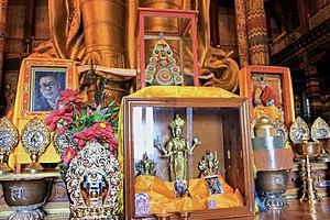 9th Jebtsundamba Khutughtu - Altar of 9th Jebtsundamba Khutughtu - the spiritual leader of the Gelug lineage among the Khalkha Mongols with photo of the 14th Dalai Lama. Gandantegchinlen Monastery, Ulan Bator, Mongolia