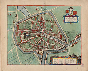 "Zierikzee - 1649 map of Zierikzee (Zirizea) in Willem and Joan Blaeu's ""Toonneel der Steden"""