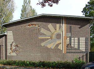 "Berend Hendriks - Stone Mosaic ""Stone pullers,"" Gouda"