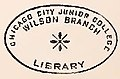 """""""Chicago City Junior College Wilson Branch Library"""" stamp from Report of the Commissioners and the History of Lincoln Park complied by I. J. Bryan, Chicago, 1899 (page 39 crop).jpg"""