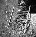 """""""Gajtri"""" na katerih sušijo lan v laneni jami, Gorenji Novaki 1954.jpg"""
