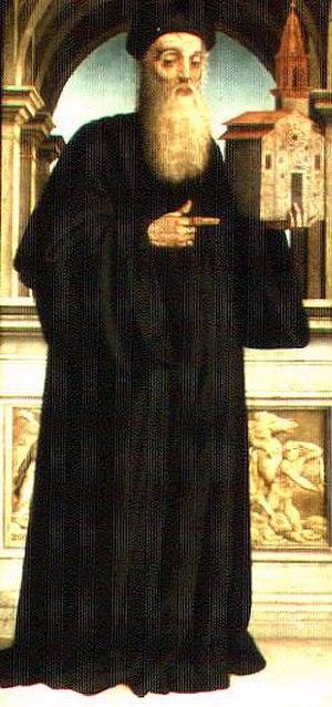 Niccolò Soggi - Baldo Magini with a model of the Church of San Fabiano, painting by Niccolò Soggi (1522), in the Prato Cathedral.