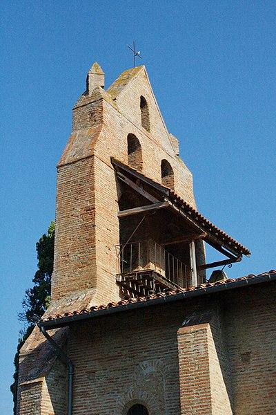 Église Saint-André de Pompertuzat - Façade est du clocher-mur