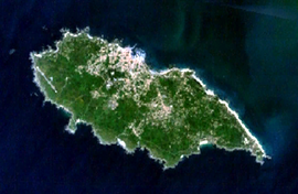 A satellite image of the island