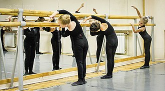 Glossary of ballet - Group of ballet students performing Cambre