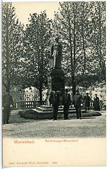 Reitenberger-Monument von Carl Kundmann in Marienbad, Foto: 1904 (Quelle: Wikimedia)