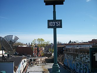103rd Street–Corona Plaza (IRT Flushing Line) - Old-fashioned smaller signs on the northbound platform in April 2011.