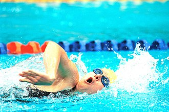 Tamara Nowitzki - Action shot of Nowitzki in the pool at the 2000 Summer Paralympics