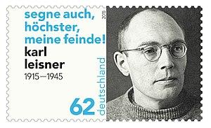 Karl Leisner - Karl Leisner, German stamp (2015); inscription: Bless also, o Most High, my enemies.