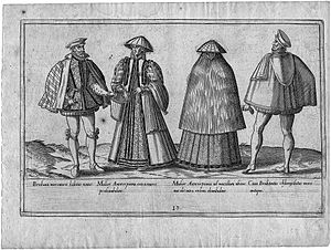 Merchant - Costumes of merchants from Brabant and Antwerp,engraving by Abraham de Bruyn, 1577