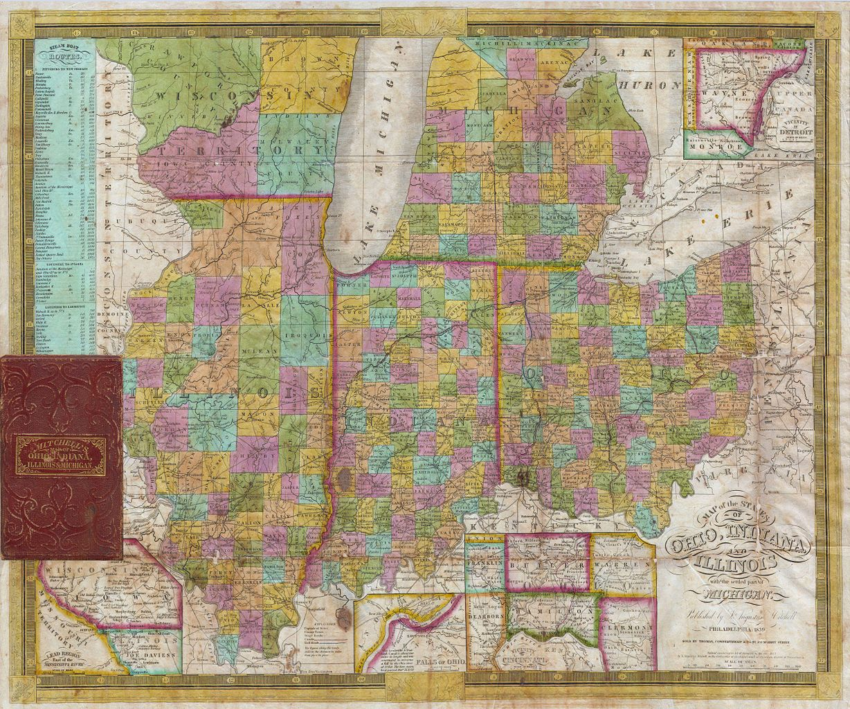 Michigan And Indiana Map.File 1838 Mitchell Pocket Map Of Ohio Indiana Illinois And