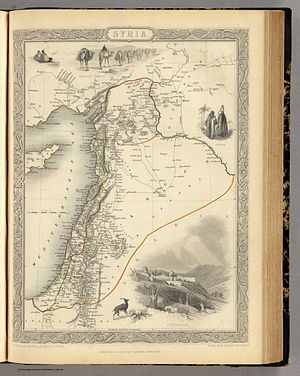 Ottoman Syria - 1851 map of Ottoman Syria, showing the Eyalets of Aleppo, Damascus, Tripoli, Acre and Gaza.