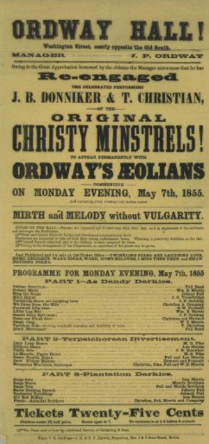 John P. Ordway - 1855 playbill for Ordway's Aeolians at Ordway Hall