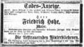 1870-06-08 Neueste Nachrichten p15 bsb10541702 00911 Todesanzeige Friedrich Hohe.png
