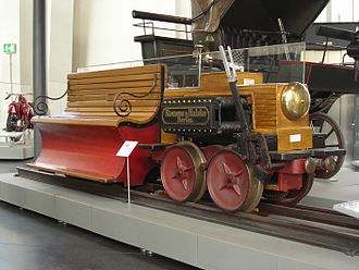 1879 Siemens & Halske experimental train 1879 Siemens & Halske Wernerwerk Electric locomotive.jpg