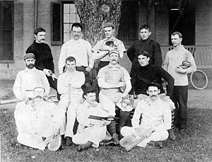 Edward Walter Eberle - The U.S. Naval Academy, Annapolis, Maryland, Officers' baseball team, Summer 1895. Ensign Edward W. Eberle (middle row at extreme left)