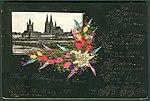 1895-03-30, Zur Erinnerung an den Einzug des Regiments Nr. 53, Musketier Mellinghaus, 8. Kompanie, Handarbeit mit Edelweiß auf Kabinett-Karton mit Goldrand.jpg