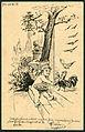1899-09-09 handgezeichnete Postkarte Wilhelm Mohrbotter Feier der Nr. 9 aus Hamburg an Schwester Erna in Celle, Harburgerstr. No. 1, Bildseite.jpg