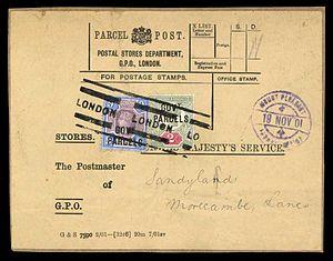 Parcel stamp - A British 1901 parcel label with two Victorian stamps overprinted Govt. Parcels.