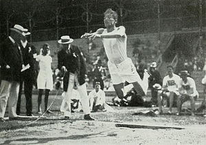 Sport in Greece - Konstantinos Tsiklitiras during the standing long jump competition at the 1912 Summer Olympics.