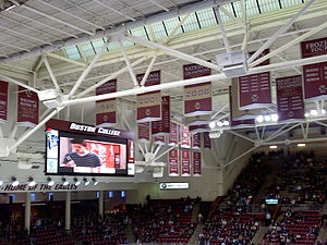 Boston College Eagles men's ice hockey - BC's National Championship banners at Kelley Rink prior to the 2010 championship.