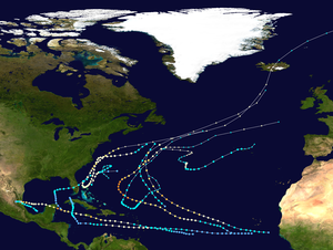 1951 Atlantic hurricane season - Image: 1951 Atlantic hurricane season summary map