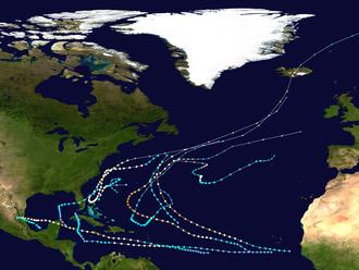 1951 Atlantic hurricane season - Image: 1951 Atlantic hurricane season summary map
