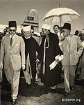 1954 - Haj Amin Al Husseini and Sayf El Islam Abdallah-Almaza Airport-Cairo.jpg
