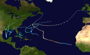 1957 Atlantic hurricane season - Image: 1957 Atlantic hurricane season summary map
